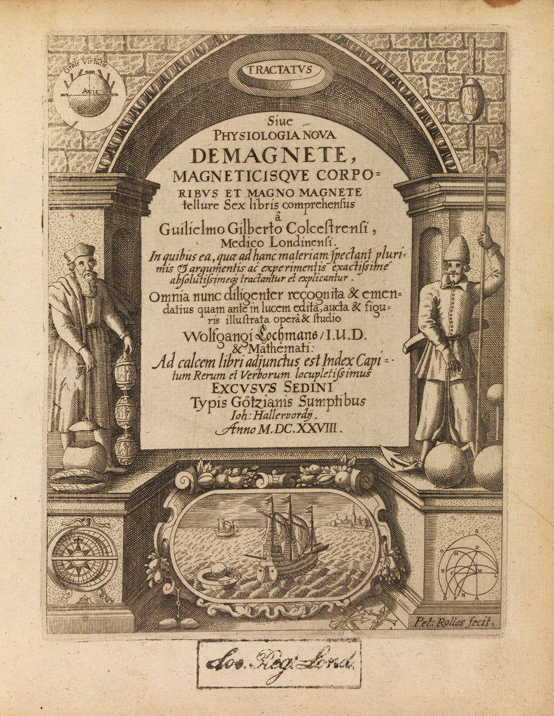 Detail of Title page of William Gilbert's 'De Magnete' by Peter Rollos I