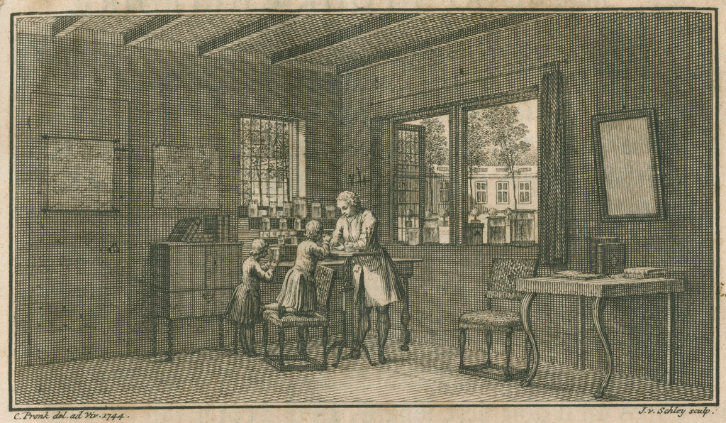 Detail of Abraham Trembley in his laboratory with pupils by Jacobus van der Schley