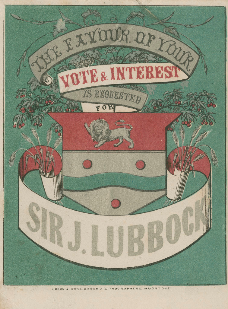 Detail of Political flyer in support of Sir John Lubbock by William Hobbs and Sons