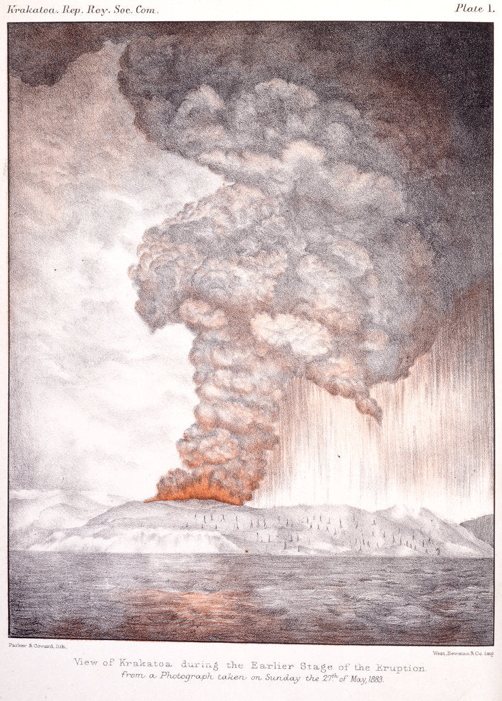 Detail of View of Krakatoa, 1883 by Parker & Coward