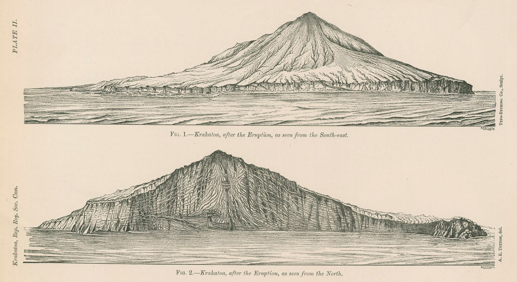 Detail of Two views of Krakatoa by Anonymous