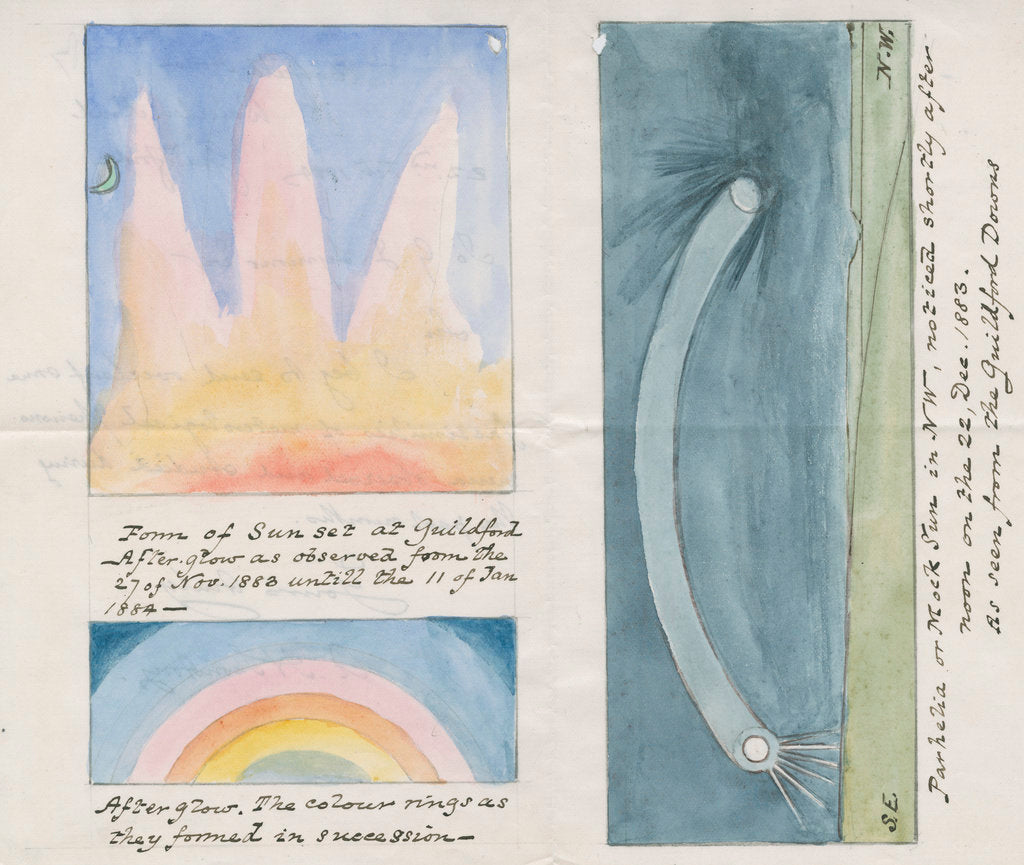 Detail of Krakatoa afterglow effects and parhelia by Archibald Henry Swinton