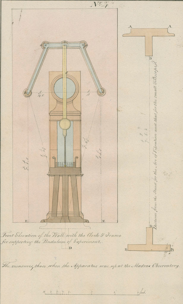 Detail of Kater's invariable pendulum and clock for gravity observations, Sumatra by unknown
