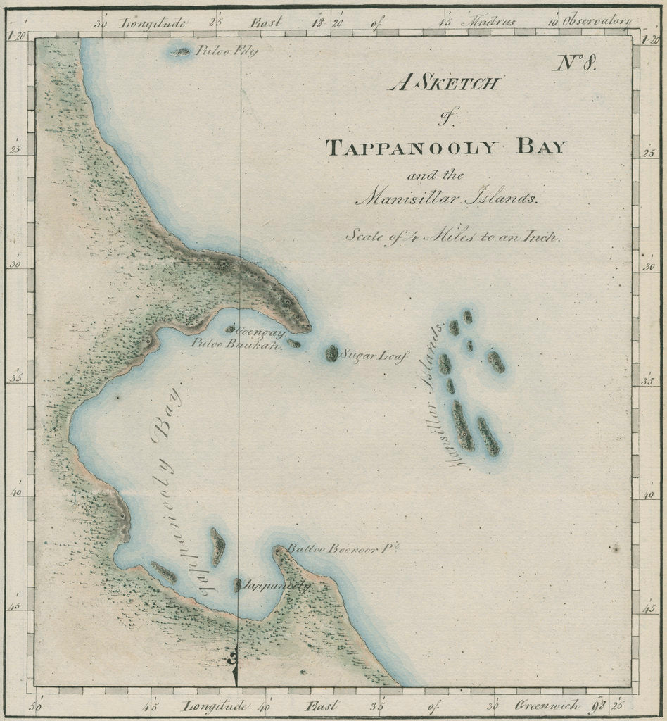Detail of Map of Tappanooly Bay, Sumatra by unknown