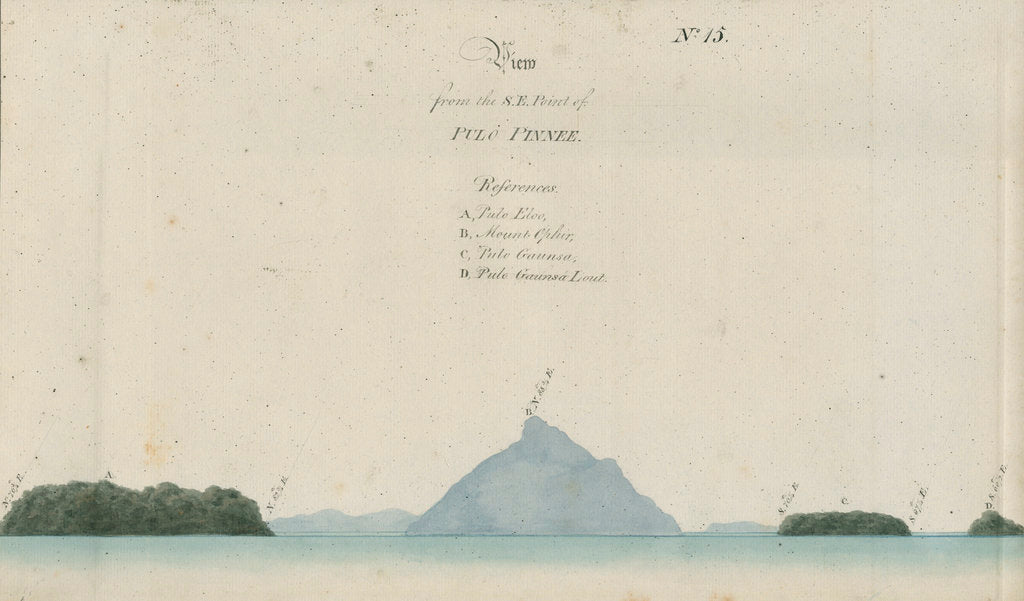 Detail of Mount Talakmau and other landmarks, Sumatra by unknown