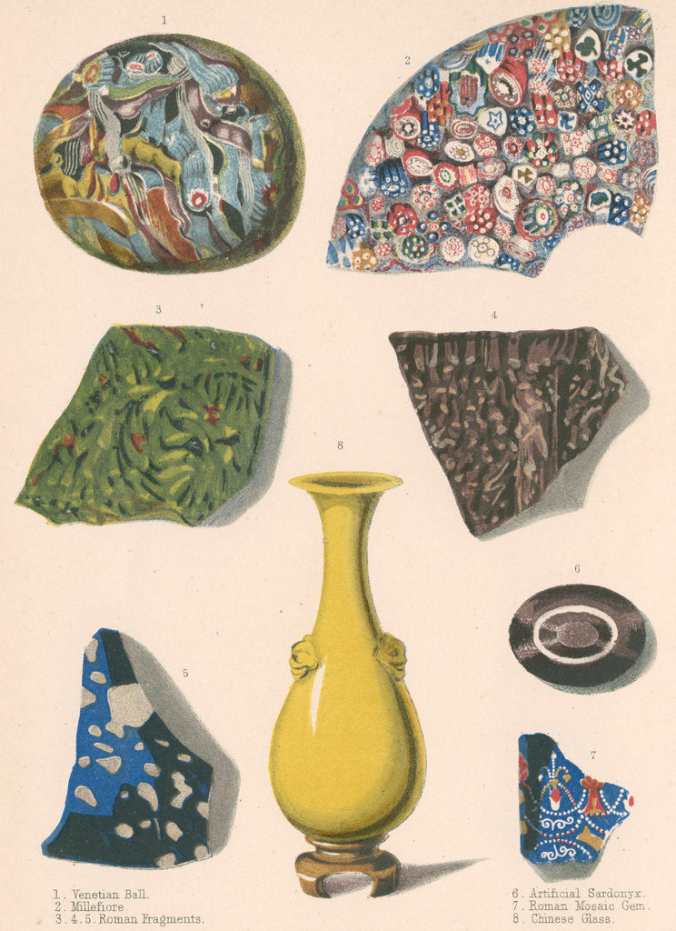 Detail of Specimens of fused coloured glass and a Chinese vase by J R Robbins