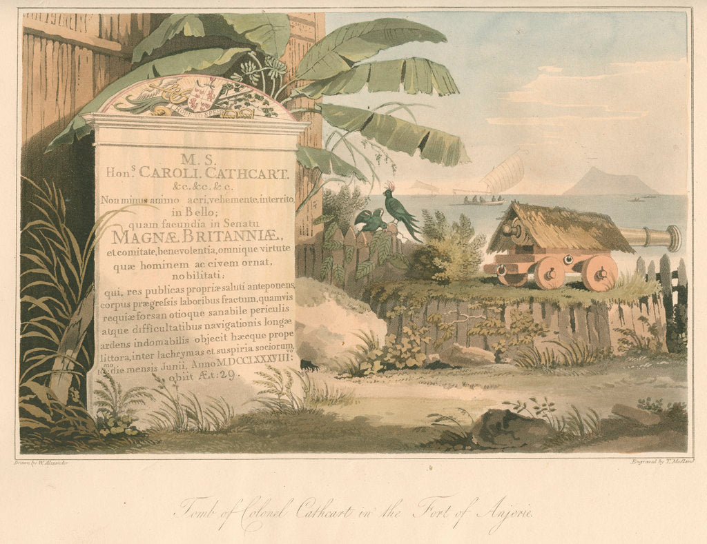 Detail of 'Tomb of Colonel Cathcart in the Fort of Anjerie' by Thomas Medland