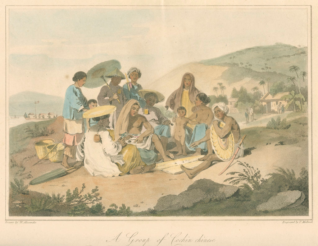 Detail of 'A Group of Cochin chinese' by Thomas Medland