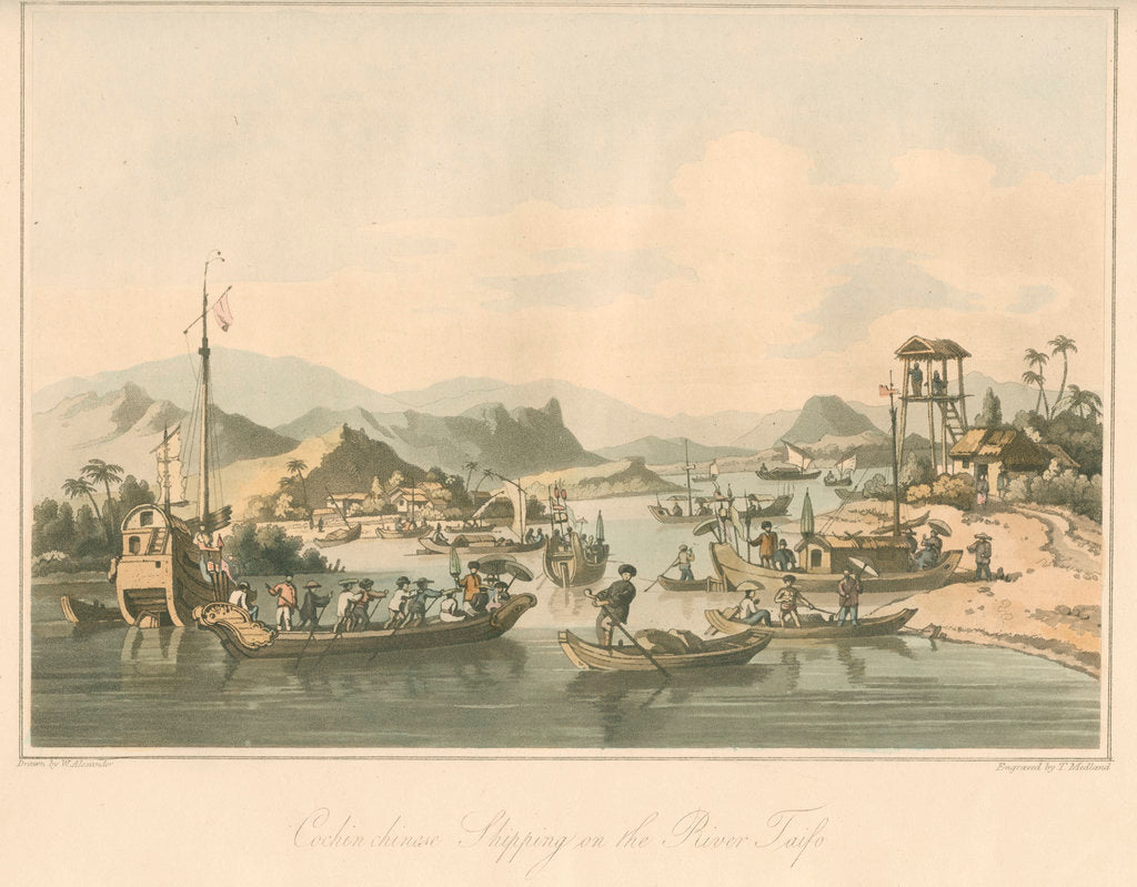Detail of 'Cochin chinese Shipping on the River Taifo' by Thomas Medland