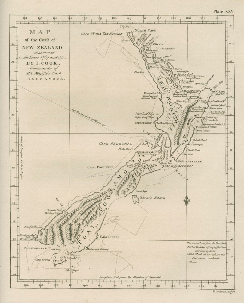 Detail of Map of the coast of New Zealand by Barak Longmate