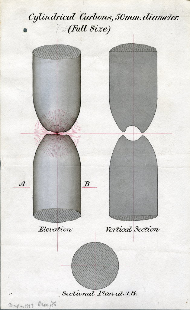 Detail of Cylindrical carbons for arc lights by James Nicholas Douglass