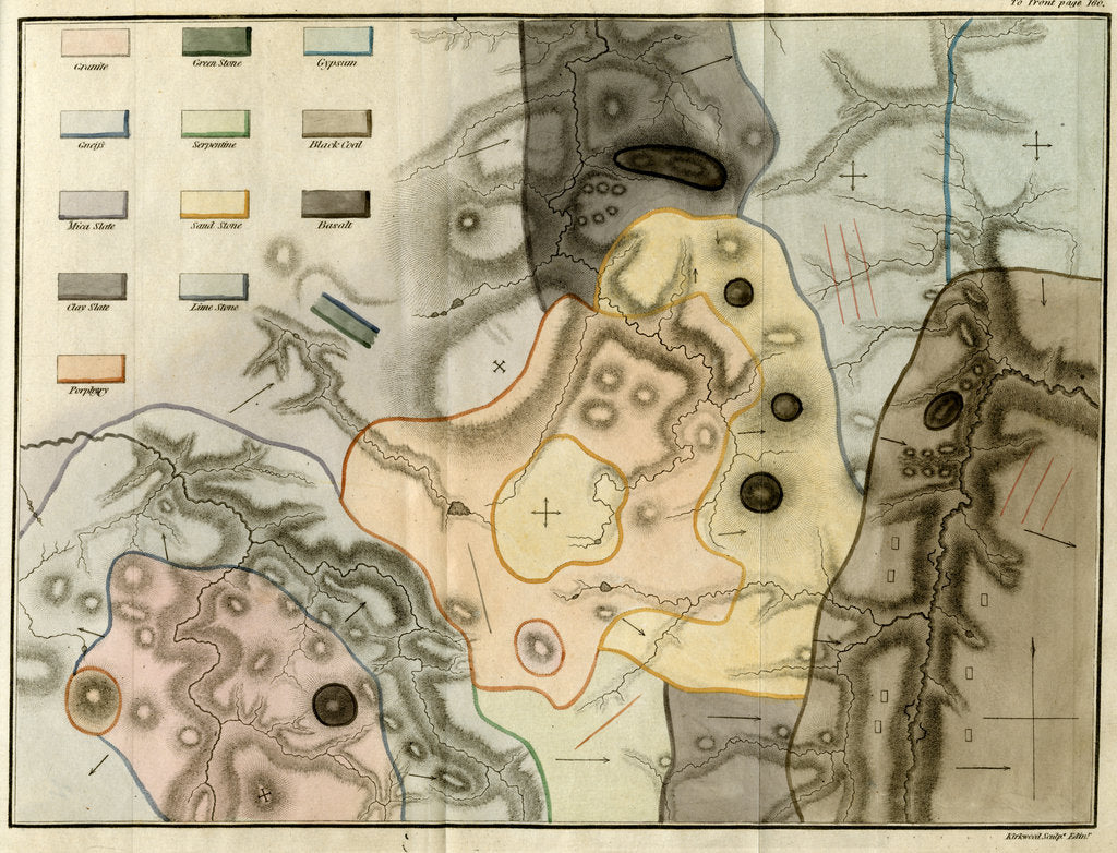 Detail of Geological map by James Kirkwood and Son