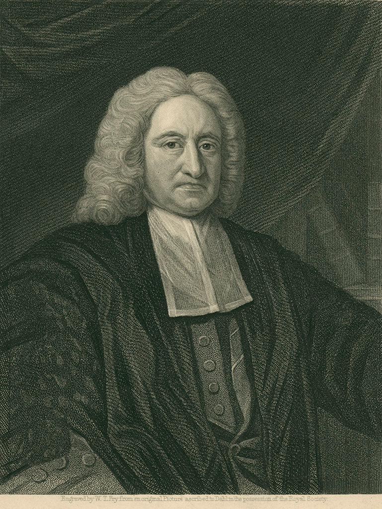 Detail of Portrait of Edmond Halley (1656-1742) by William Thomas Fry