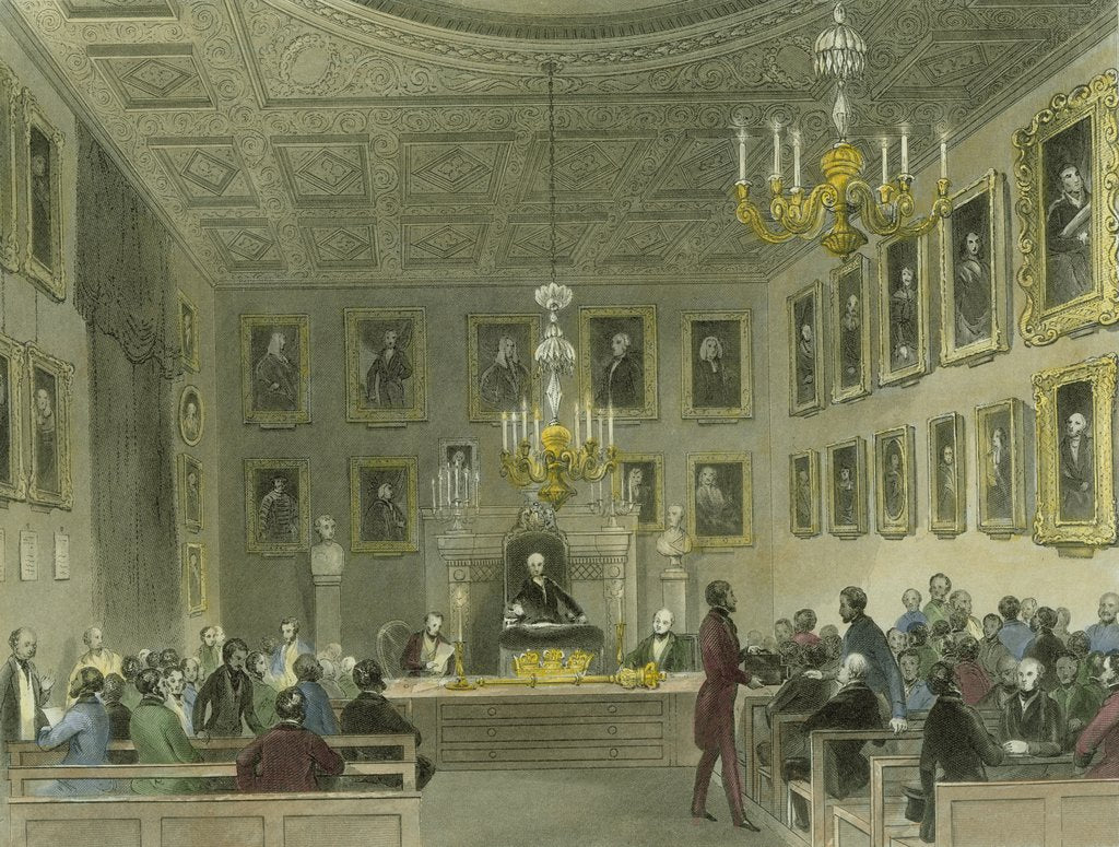 Detail of A meeting of the Royal Society at Somerset House by Henry Melville