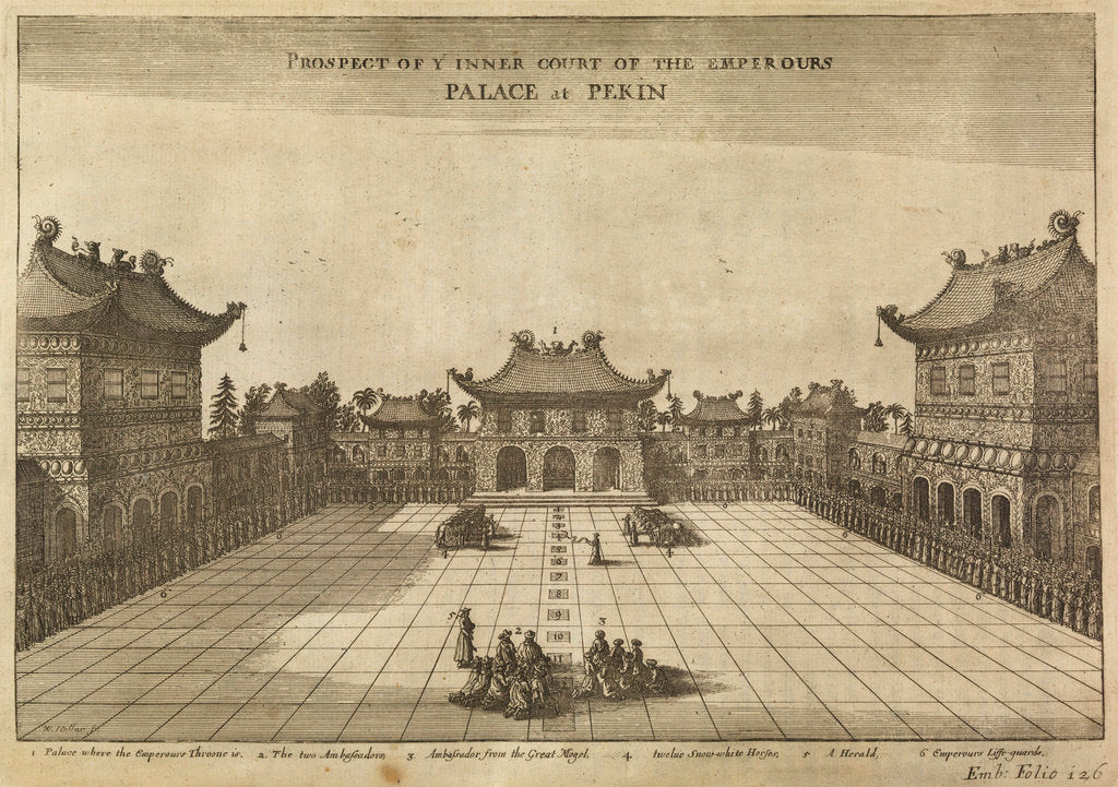 Detail of 'Palace at Pekin' [Beijing] by Wenceslaus Hollar
