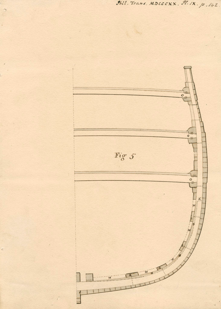 Detail of Cross section of a merchant ship by Robert Seppings