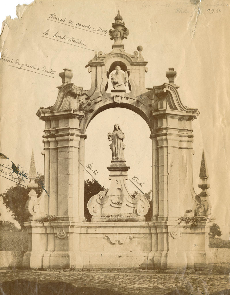 Detail of St Bernard's monument, Certosa [earthquake damage] by Alphonse Bernoud Grellier
