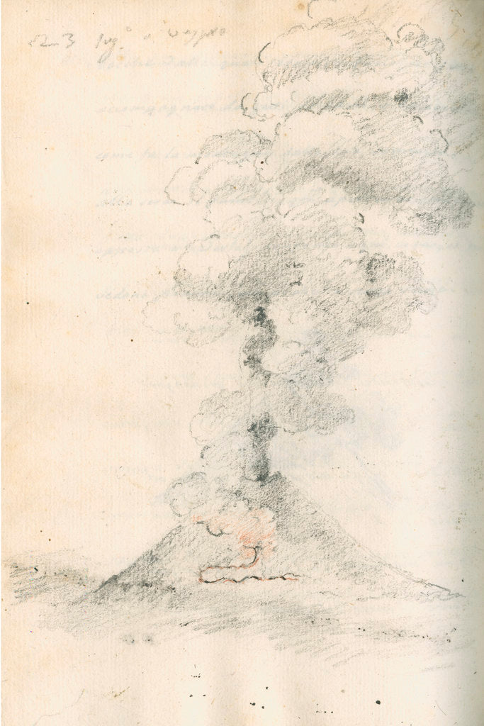Detail of Vesuvius erupting by Antonio Piaggio
