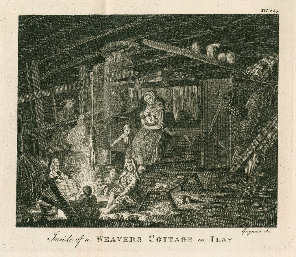 Detail of 'Inside of a poor weavers cottage at Ilay' by Charles Grignion I