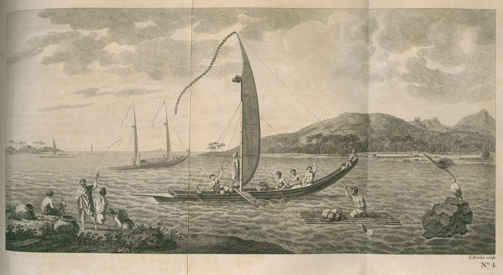 Detail of Fishing scene, Tahiti by Edward Rooker