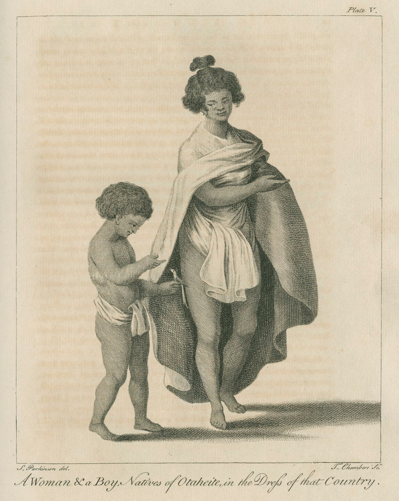 Detail of 'A Woman & a Boy, Natives of Otaheite, in the Dress of that Country' by Thomas Chambers