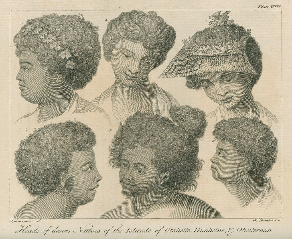 Detail of 'Heads of divers Natives of the Islands of Otaheite, Huaheine, & Oheiteroah' by Thomas Chambers