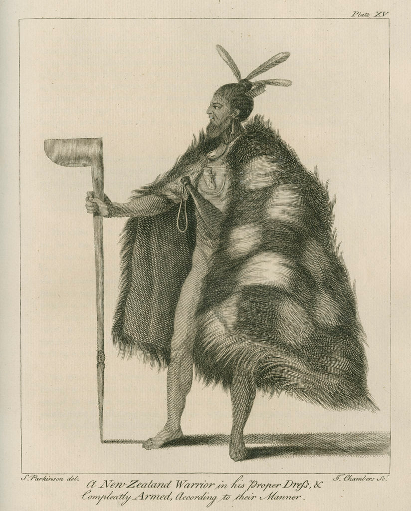 Detail of 'A New Zealand Warrior in his Proper Dress.' by Thomas Chambers