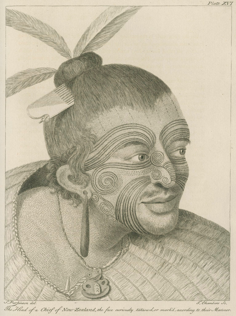 Detail of 'The Head of a Chief of New Zealand...' by Thomas Chambers