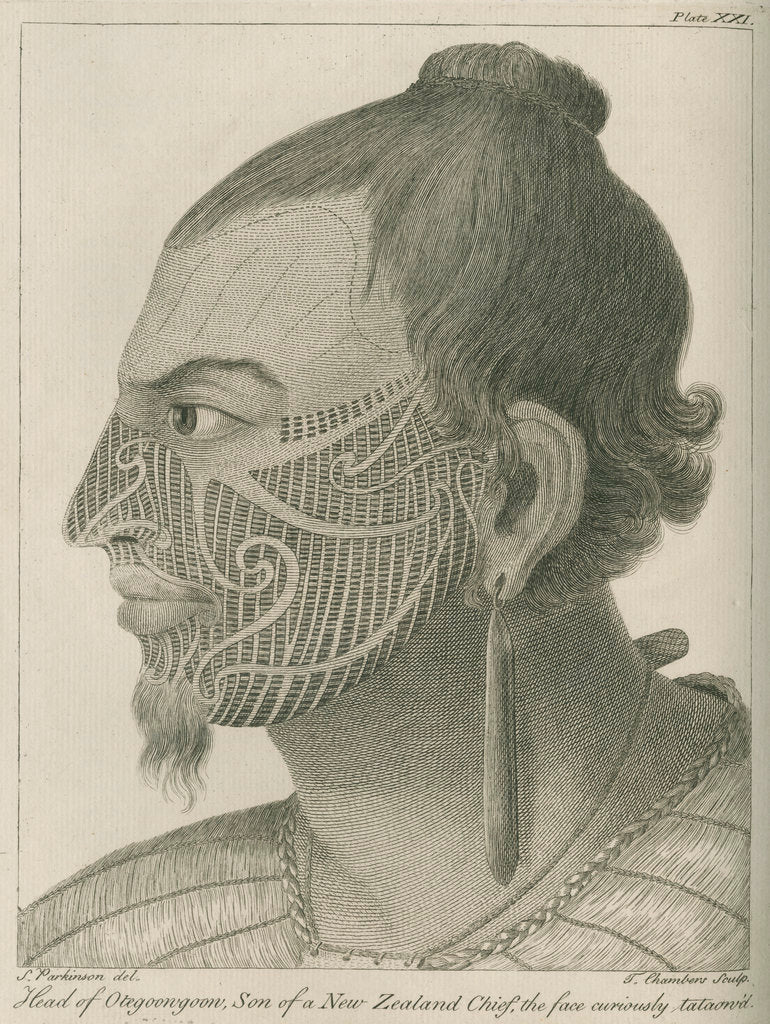Detail of 'Head of Otegoowgoow, Son of a New Zealand Chief...' by Thomas Chambers