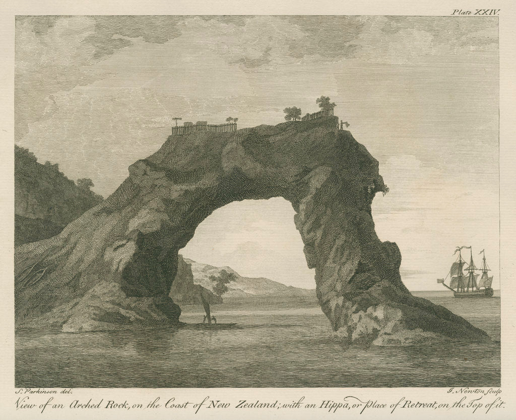 '... arched Rock, on the Coast of New Zealand; with an Hippa, or place of Retreat...' by James Newton
