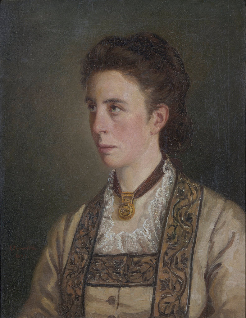 Detail of Portrait of Louisa Charlotte Tyndall (1845-1940) by Victor Zippenfeld