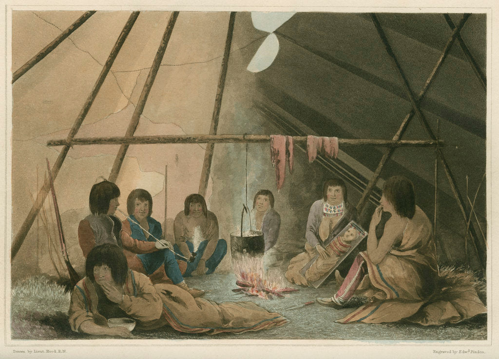 Detail of 'Interior of a Cree Indian tent, March 25th 1820' by Edward Francis Finden