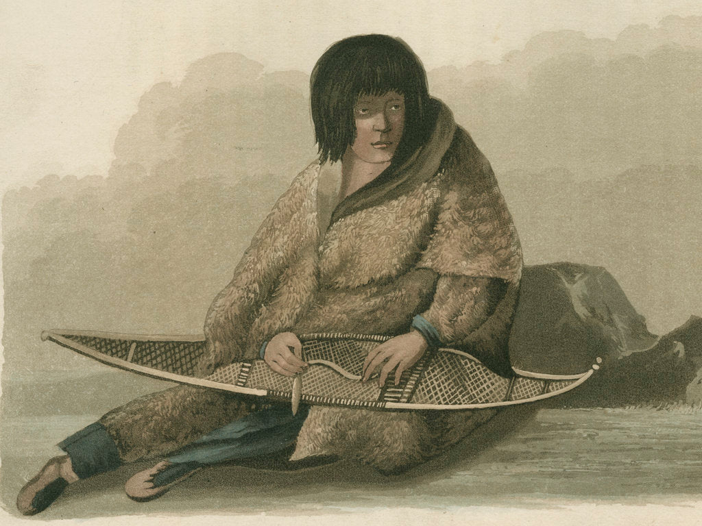Detail of Green Stockings mending a snow shoe by Edward Francis Finden