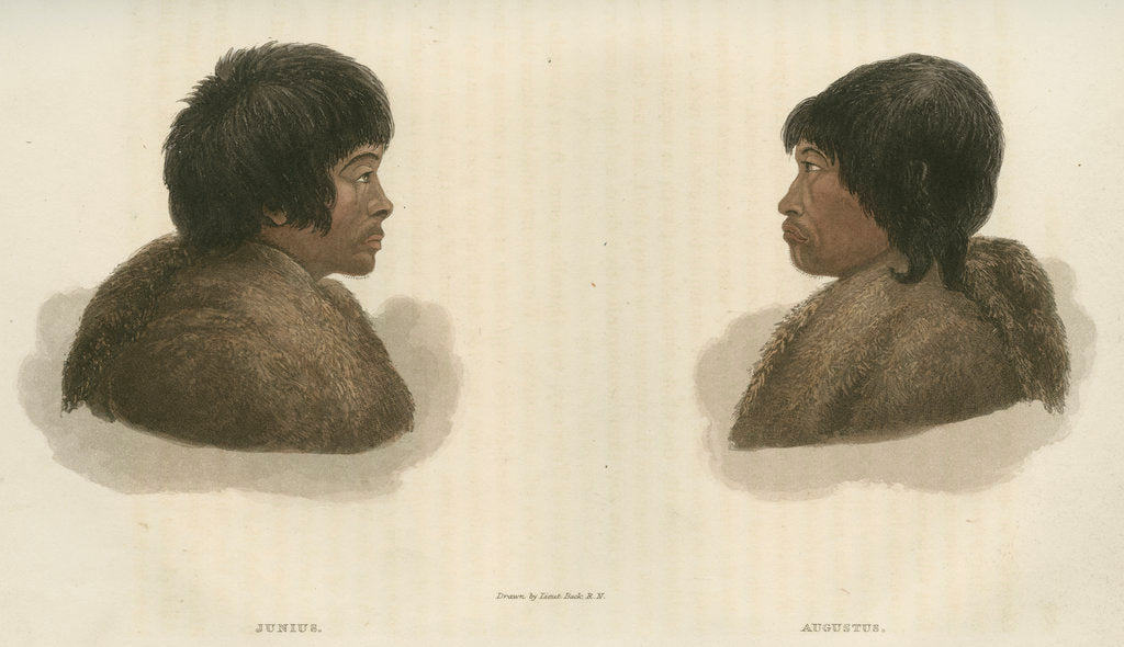 Detail of Inuit interpreters: Junius [L] and Augustus [R] by Edward Francis Finden