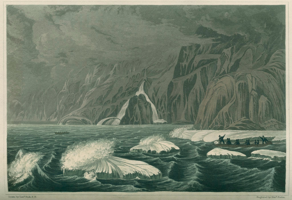 Detail of 'Expedition doubling Cape Barrow, July 25 1821' by Edward Francis Finden