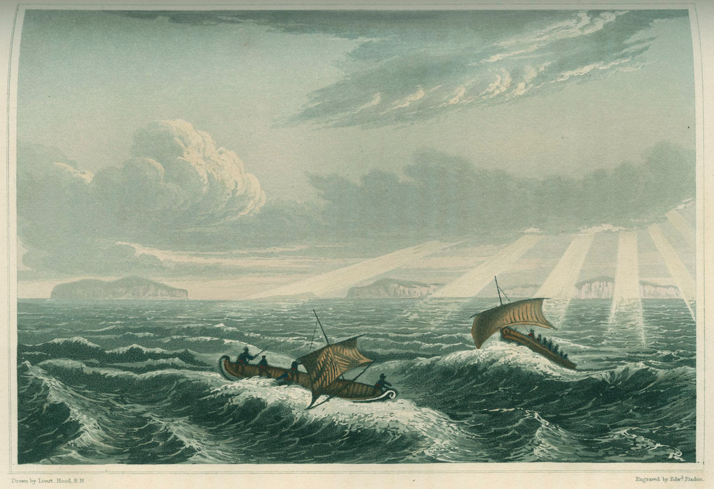 Detail of 'Canoe broaching to in a gale of wind at sunrise, Aug. 23rd 1821' by Edward Francis Finden