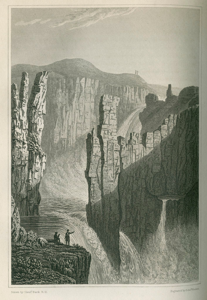 Detail of 'The Falls of Wilberforce, estimated at 250 feet high' by Edward Francis Finden