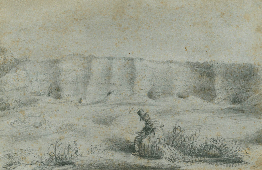 Detail of Geologist in a chalk pit by George John Rose