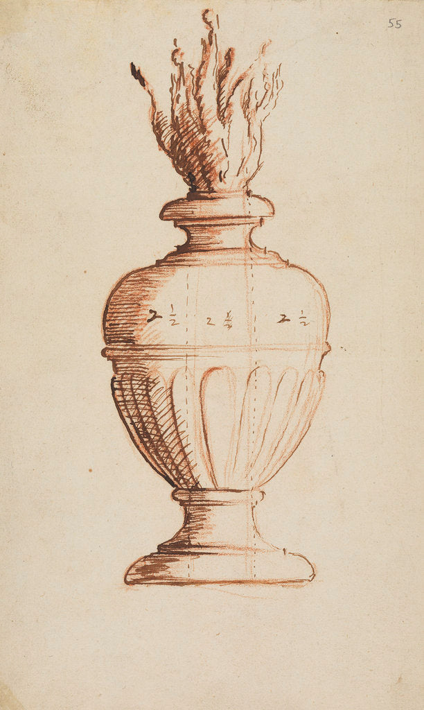 Detail of Architectural vase with flames by Anonymous