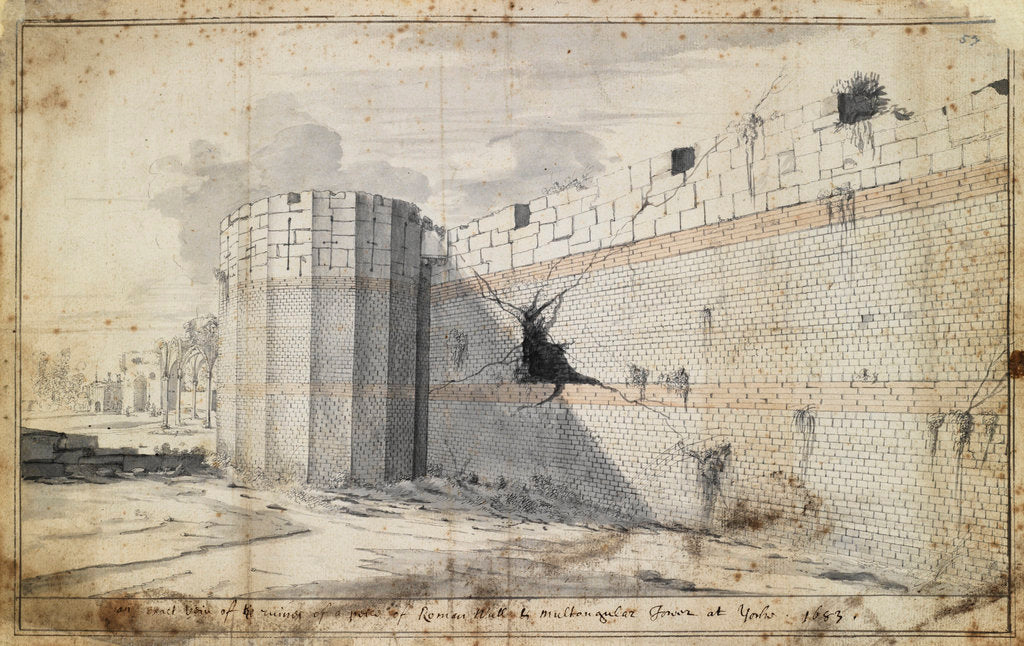 Detail of The Roman wall at York by Martin Lister