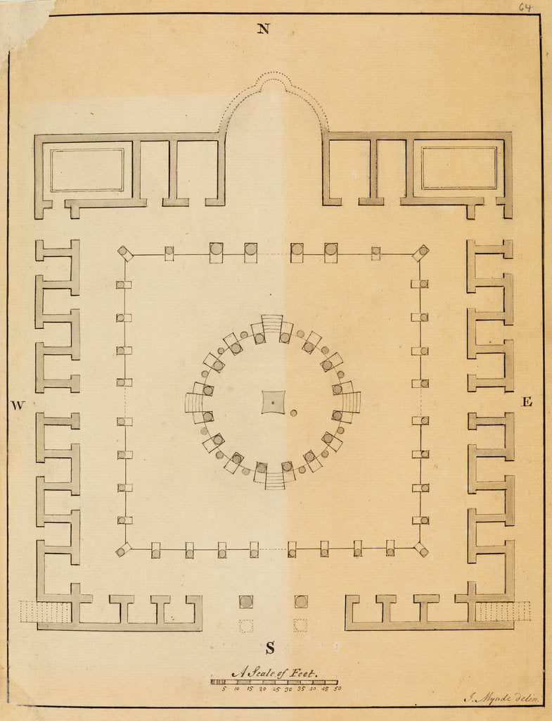 Detail of Plan of the Temple of Serapis at Pozzuoli by James Mynde
