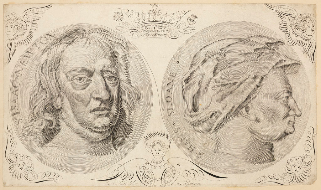 Detail of Portraits of Sir Isaac Newton (1642-1727) and Sir Hans Sloane (1660-1753) by Jacob Smith