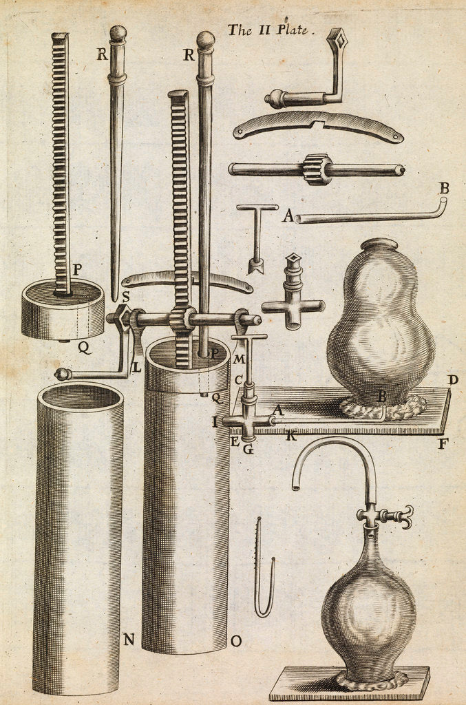 Detail of Component parts of Boyle's second air pump by Anonymous