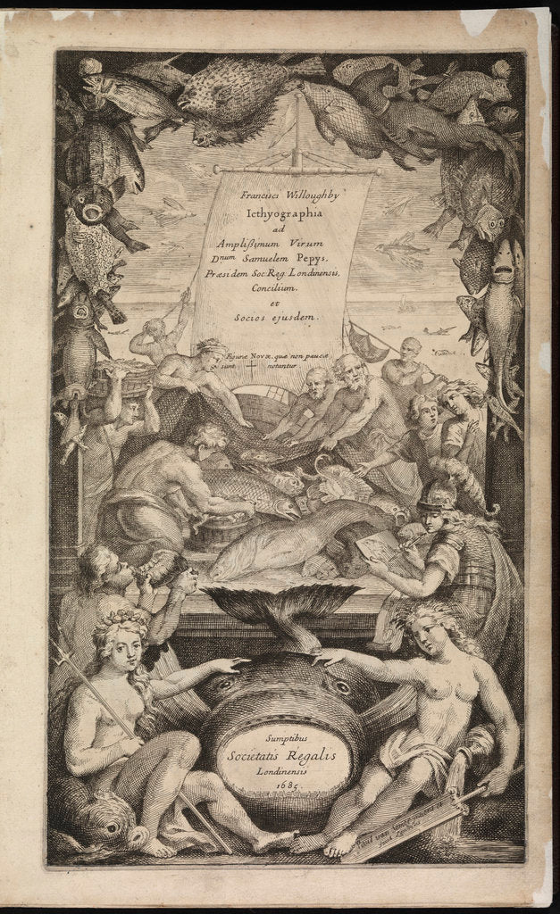 Detail of Title page of 'Icthyographia' by Paul van Somer II