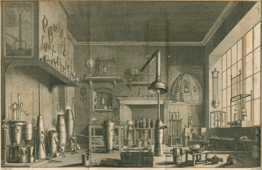 Detail of A chemistry laboratory by Pierre-Charles Canot