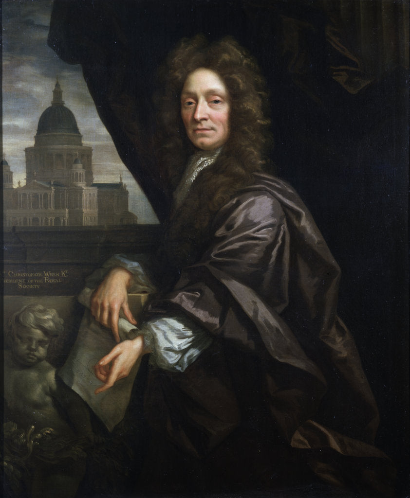 Detail of Portrait of Christopher Wren (1632-1723) by John Closterman