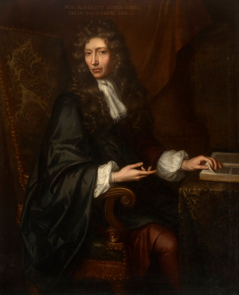 Detail of Portrait of Robert Boyle (1627-1691) by Johann Kerseboom