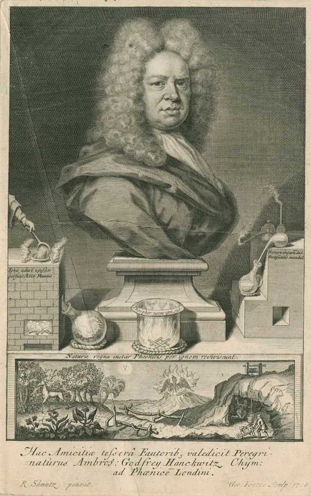 Detail of Portrait of Ambrose Godfrey (1680-1756) by George Vertue