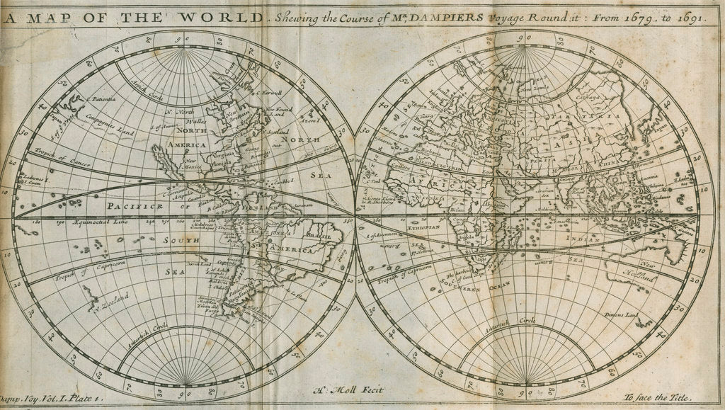 Detail of Map of William Dampier's circumnavigation of the world, 1679-1691 by Herman Moll