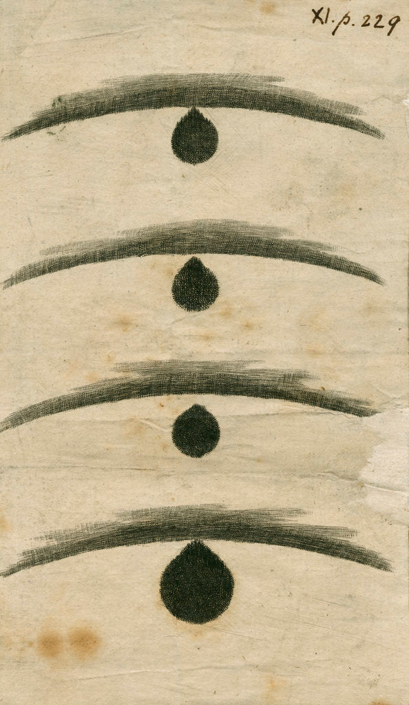 Detail of 'Black drop' effect during the 1769 Transit of Venus by William Hirst